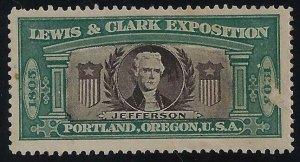 1905 Lewis & Clark Exposition Cinderella Jefferson Unused Read