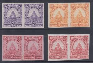 Honduras Sc 40var-43var MNG. 1890 imperf horiz pairs TCP-s in unissued colors