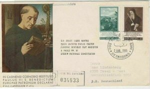 Vatican 1965 Registered Slogan Man with Book Pic Stamps FDC Cover Ref 29505