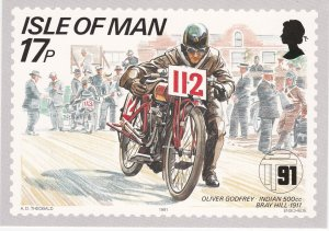 Isle of Man # 472-476, Tourist Motorcycle Races, Maxi Cards, Unused, Mint
