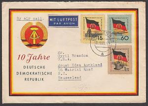 EAST GERMANY 1959 airmail cover to New Zealand - nice franking.............55417