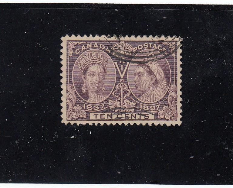CANADA # 57 VF-LIGHT USED 10cts DIAMOND JUBILEE CAT VALUE $160