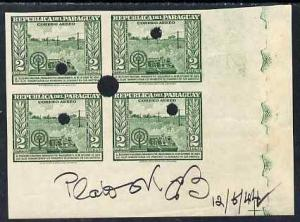 Paraguay 1944-45 First Telegraph 2c green imperf corner p...