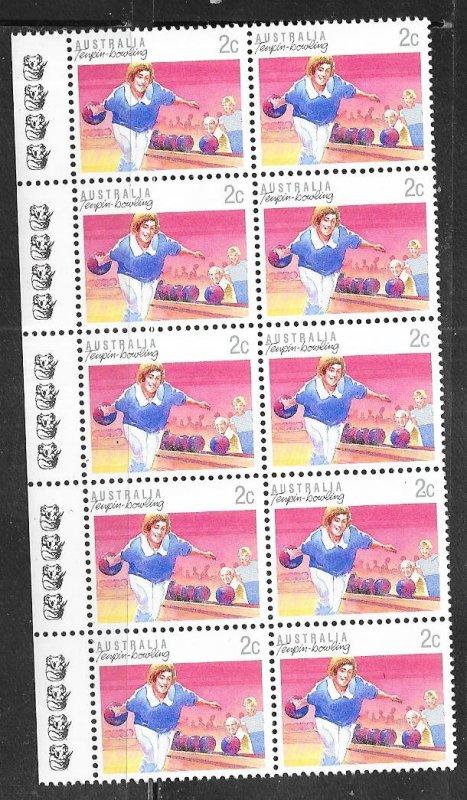 Australia  #1107  2c Tenpin  Bowling Strip of 10   (MNH)  CV $2.50
