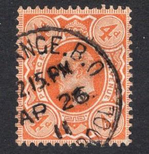 Great Britain  #144  1902  used Edward VII  4d orange