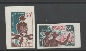 1966 Gabon Boy Scouts camp fire IMPERF margin