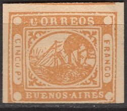 Argentina - Buenos Aires; 1858: Sc. # 5: *+/MLH Single Stamp