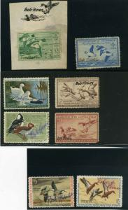 BOB HINES ACTUAL FEDERAL DUCK HUNTING STAMPS RW13,RW15, RW16,RW20,RW35,RW37-39