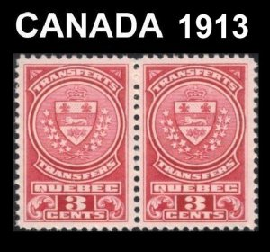 CANADA QUEBEC 1913 REVENUE STOCK TRANSFER TAX STAMPS VERY FINE PAIR 3c QST11 MNH