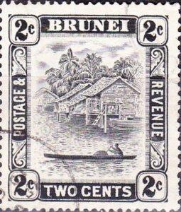 BRUNEI 1951 2c Black SG80ab FU