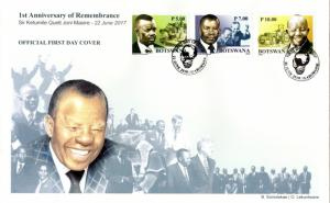Botswana 2018 The 1st Anniv of the Death of Quett Ketumile Joni Masire. FDC