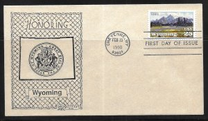 United States 2444 Wyoming Statehood Western Cachet First Day Cover FDC (z6)