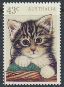 Australia SG 1300 Used  Domestic Pets Cat 1991   SC# 1222 w/ fdc see scan