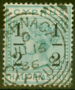 Cyprus 1886 1/2 on 1/2pi Emerald Green SG28 V.F.U Neat Larnaca Sq Circle Cancel