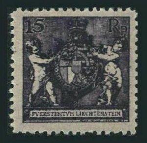 Liechtenstein 61a perf 12 1/2,lightly hinged.Michel 52B. Coat of Arms.1921.