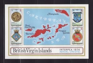 Virgin Islands 269a Set MNH INTERPEX, Naval Crests, Maps (D)