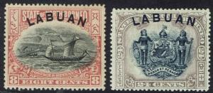 LABUAN 1897 DHOW 8C AND ARMS NO POSTAGE & REVENUE 24C