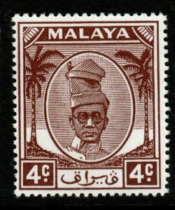 MALAYA PERAK SG131 1950 4c BROWN MNH
