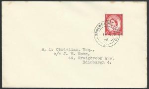 GB 1958 cover SHREWSBURY - YORK TPO railway cds............................50343