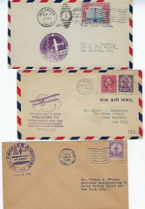 CALIFORNIA - 6 EVENT AIR MAIL COVERS 1929-1930s VARIOUS CITIES CANCELS - C21