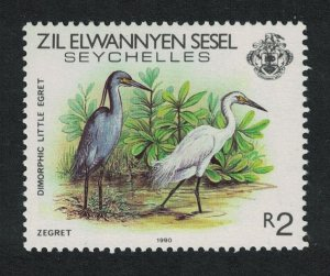 ZES Seychelles Western Reef Heron Bird 1v 2R imprint '1990' SG#226