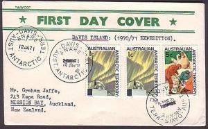 AUSTRALIAN ANTARCTIC 1971 cover ex DAVIS base - DATE OFFICIALLY CORRECTED