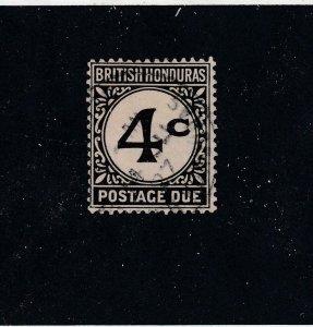 BRITISH HONDURAS # J3  VF-USED 4c  1923-64 POSTAGE DUE / BLACK CAT VALUE $19