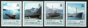 South Georgia and S Sandwich Isl 1990, Shipwrecks set VF MNH Mi 186-189 cat 8,5€