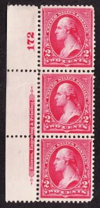US 267 2c Washington Plate #172 Strip of 3 VF-XF OG NH SCV $57++