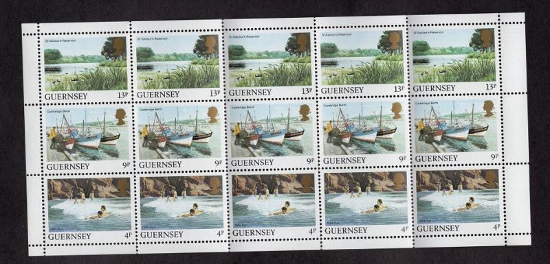 Guernsey  #294b  1984  MNH boooklet with miniature sheet 5 each of 4p,9p and 13p