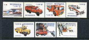 Nicaragua 1477-1483, MNH Fire Trucks 1985. x29995