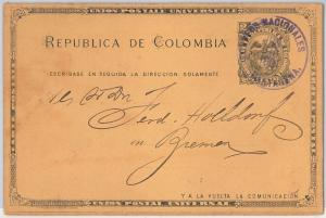 COLOMBIA -  POSTAL HISTORY - POSTAL STATIONERY CARD - Higgings & Gage # 14 used