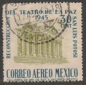 MEXICO C148, 30¢ Reconstruction of La Paz Theater Used. F-VF.  (825)