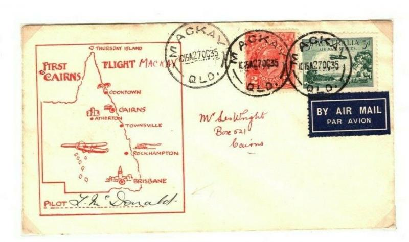 AUSTRALIA Air Mail Townsville Cooktown First Flight Pilot Signed 1935 PA5