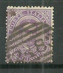 1879 Italy #50  50c King Humbert I heavily cancelled