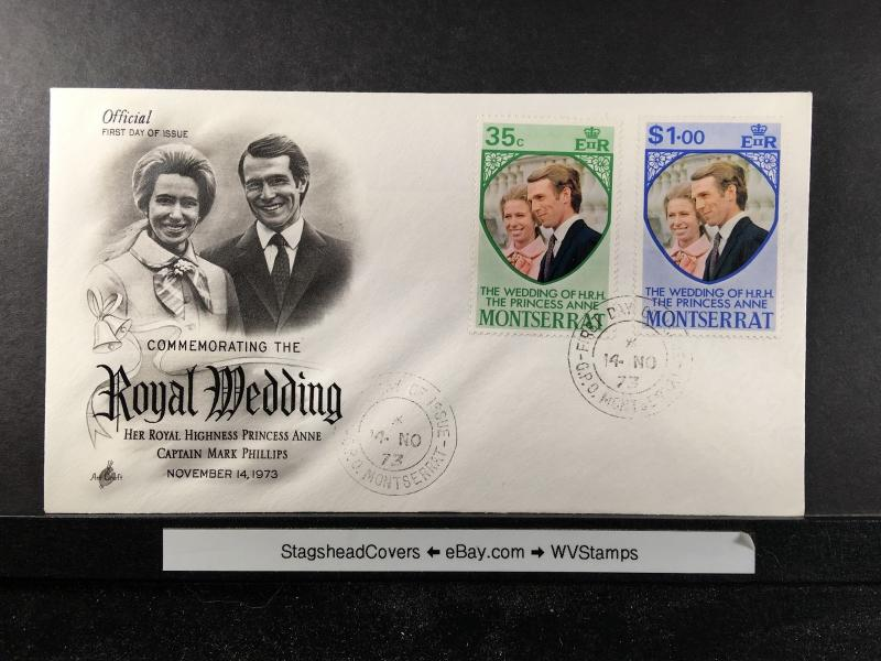Montserrat FDC 14 Nov 1973 Royal Wedding Anne & Mark Phillips Unaddressed