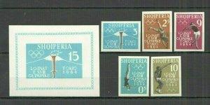 I1159 IMPERF ALBANIA OLYMPIC GAMES TOKYO 1964 #(657-61+BL8)B MICHEL 85 EURO MNH
