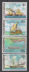 Barbados, Scott #487-490; Ships, MNH