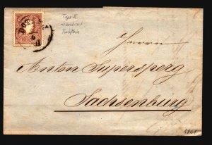 Austria 1861 10Kr Cover  - Z16418