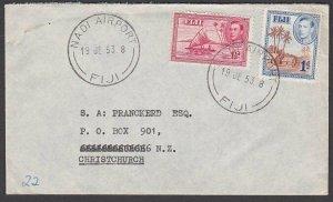 FIJI 1953 cover to NZ ex NADI AIRPORT.......................................R562