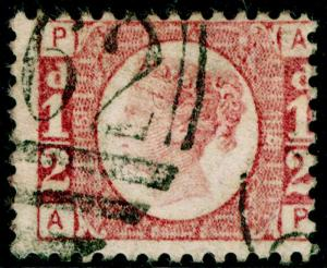 SG48, ½d rose-red PLATE 15, USED. Cat £40. AP