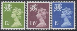 z4604) G.B. - Wales. 1980. MNH. SG w32/3/4 P15 x 14 Gravure