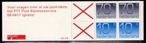 Netherlands Scott # 772a, mint nh, cpl. stamp booklet,  se-tenant