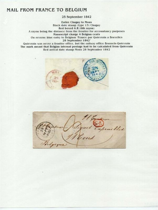 FRANCE Early LETTER/COVER 1842 fine used item Chagny - Mons Belgium