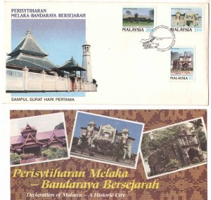 Malaysia Scott 388-390 Historic bilding of Melaka on FDC with brochure enclosed