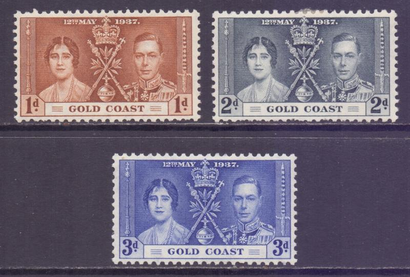 Gold Coast Scott 112/114 - SG117/119, 1937 Coronation Set MH*