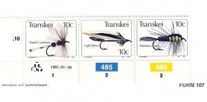 South Africa (Transkei), 69, Fishing Flies Strip (5),MNH
