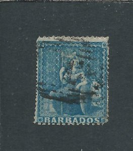 BARBADOS 1861 (1d) PALE BLUE FU SG 18 CAT £85