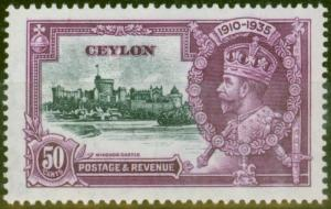 Ceylon 1935 50c Slate & Purple SG382f Diag Line by Turret V.F Lightly Mtd Mint