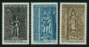 Cambodia 312-314,MNH.Michel 370-372. Sculptures from Ankor Wat,Devata,1973.Birds